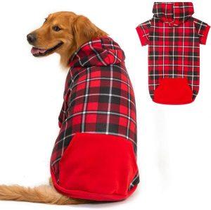 Bingpet Plaid Dog Hoodie Dog Fleece Sweater