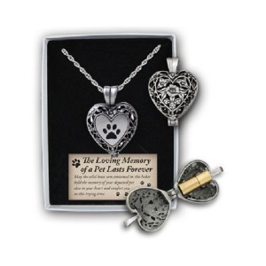 Cathedral Art Paw Print Memorial Ashes Locket Necklace