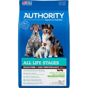 Authority Turkey, Pea, Duck & Salmon Formula Grain Free & High Performance Dry Dog Food
