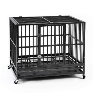 Ainfox 37 42 48inch Heavy Duty Metal Dog Crate