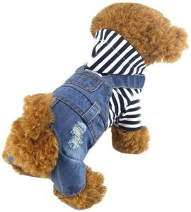 Doggyzstyle Pet Dog Clothes Blue Striped Jeans