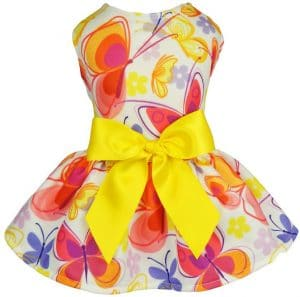 Fitwarm Floral Butterfly Dog Dress