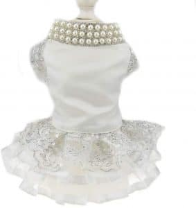 Luxury Lace Pearl Dog Dress For Cat Pet Dog