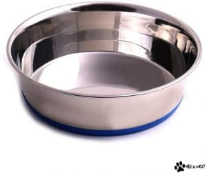 Max And Neo Heavyweight Non Skid Rubber Bottom Stainless Steel Dog Water Bowl