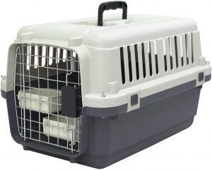 Sportpet Designs Plastic Kennels 24 Inch Rolling Plastic Wire Door Travel Dog Crate