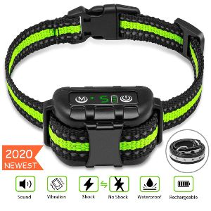 Bark Collar No Bark Collar Rechargeable Anti Bark Collar With Adjustable Sensitivity And Intensity Beep Vibration