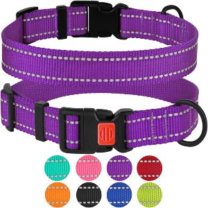 Collardirect Reflective Dog Collar With Buckle Adjustable Safety Nylon Collars