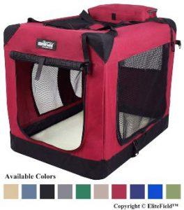 Elitefield 3 Door Folding Soft Dog Crate, Indoor & Outdoor