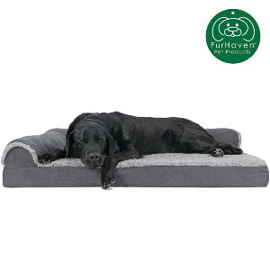 Furhaven Pet Dog Bed Orthopedic Chaise Lounge Sofa Style Living Room Corner Couch Pet Bed
