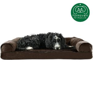 Furhaven Pet Dog Bed Orthopedic Plush & Suede Sofa Style Living Room Couch Pet Bed