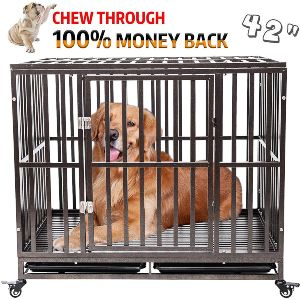 Gelinzon Heavy Duty Dog Cage Crate Kennel Roof Strong Metal For Large Dogs