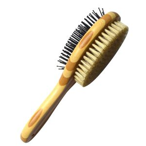 Halova Pet Comb, Professional Double Sided Pin & Bristle Bamboo Brush For Dogs & Cats