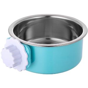 Ordermore Crate Dog Bowl,stainless Steel Removable Hanging Food Water Bowl Cage Coop Cup
