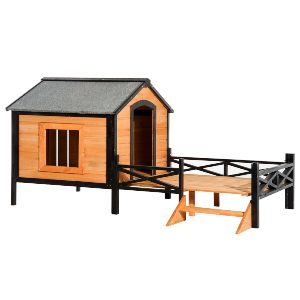 Pawhut 67 Large Wooden Cabin Style Elevated Outdoor Dog House With Porch
