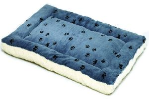 Reversible Paw Print Pet Bed In Blue & Cream Synthetic Fur For Dogs & Cats