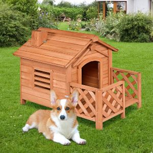 Tangkula Pet Dog House, Wooden Dog Room With Porch & Fence, Raised Vent And Balcony For Outdoor & Indoor Use