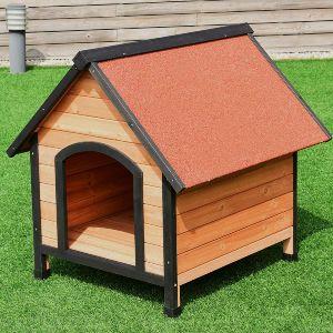 Tangkula Pet Dog House, Wooden Pet Kennel, Outdoor Weather Waterproof Pet House