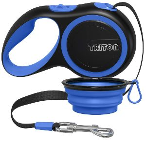 Triton Retractable Dog Leash 16 Foot Reinforced Nylon With Collapsible Water Bowl