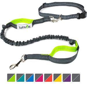 Tuff Mutt Hands Free Dog Leash For Running, Walking, Hiking, Durable Dual Handle Bungee Leash