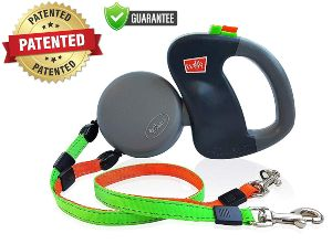 Wigzi Two Dog Retractable Non Tangling Dog Leash With Innovative Gel Handle