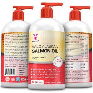 Wild Alaskan Salmon Oil For Dogs, Cats, Ferrets 16 & 32oz Pure Unscented Liquid Omega 3 Fatty Acid Fish Oil For Dogs