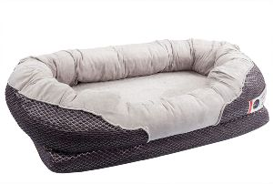 Barksbar Gray Orthopedic Dog Bed Snuggly Sleeper With Solid Orthopedic Foam, Extra Comfy Cotton Padded Rim Cushion And Nonslip Bottom