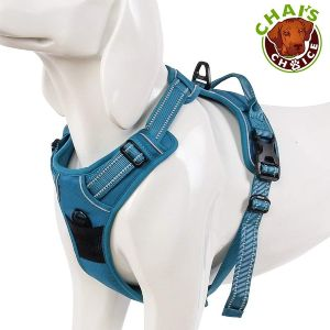 Chai's Choice Best Outdoor Adventure Dog Harness. 3m Reflective Vest With Two Leash Attachments. Caution