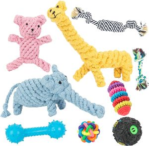 Dog Toys 9 Pack Gift Set,ball Rope Chew Squeaky