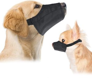 Downtown Pet Supply Quick Fit Dog Muzzle With Adjustable Straps, Black Nylon