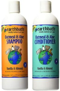 Earthbath Dog Cat Vanilla & Almond Grooming Bundle (1) Each Oatmeal & Aloe Shampoo And Conditioner, 16 Ounces