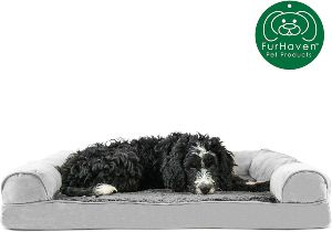 Furhaven Pet Dog Bed Therapeutic Plush & Suede Sofa Style Living Room Couch Pet Bed W Removable Cover For Dogs & Cats