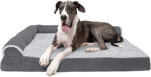 Furhaven Pet Dog Bed Therapeutic Plush & Suede Sofa Style Living Room