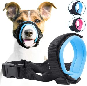 Gentle Muzzle Guard For Dogs Prevents Biting Unwanted Chewing Safely Secure Comfort Fit Soft Neoprene Padding – No More Chafing – Included Training Guide Helps Build Bonds Pet (1)