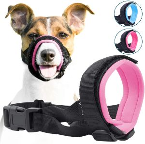 Gentle Muzzle Guard For Dogs Prevents Biting Unwanted Chewing Safely Secure Comfort Fit Soft Neoprene Padding – No More Chafing – Included Training Guide Helps Build Bonds Pet (2)