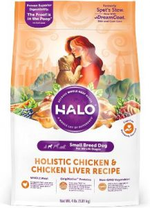 Halo Natural Dry Dog Food, Small Breed Chicken & Chicken Liver Recipe, 4 Pound Bag