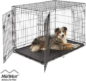 Midwest Homes For Pets Dog Crate Icrate Single Door & Double Door Folding Metal Dog Crates