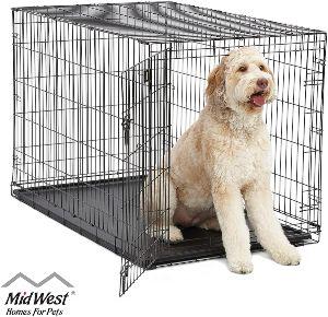 Midwest Homes For Pets Dog Crate Icrate Single Door & Double Door Folding Metal Dog Crates