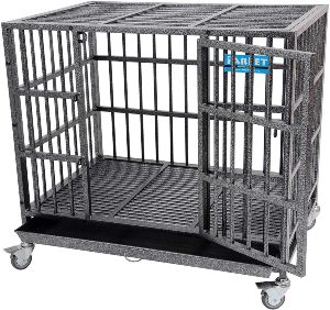 Parpet Heavy Duty Empire Dog Crate Strong Metal Pet Kennel Cage With Removable Wheels Steel Tray