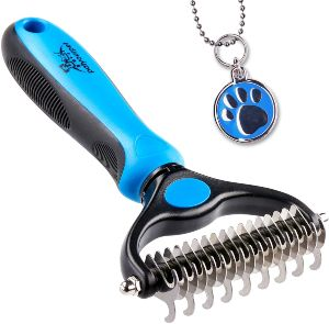 Pet Grooming Tool 2 Sided Undercoat Rake For Cats & Dogs Safe Dematting Comb For Easy Mats & Tangles Removing No More Nasty Shedding And Flying Hair