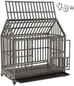 Smonter Heavy Duty Dog Crate Strong Metal Pet Kennel Playpen With Two Prevent Escape Lock