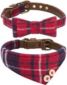 Strawberryec Puppy Collars For Small Dogs Adjustable Puppy Id Buckle Collar Leather. Cute Plaid Red