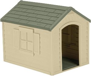 Suncast Outdoor Dog House With Door Water Resistant And Attractive For Small To Large Sized Dogs Easy To Assemble Perfect For Backyards
