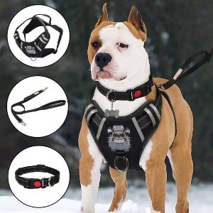 Tianyao Dog Harness No Pull Dog Vest Set Reflective Adjustable Oxford Material Pet Harness For Large Dogs