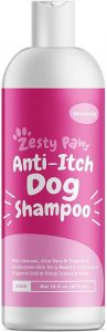 Zesty Paws Dog Shampoo With Oatmeal & Aloe Vera Natural Grooming Pet Wash For Itchy & Sensitive Skin + Dandruff & Coat Odors Gentle Anti Itch Formula Vanilla Bean Scent 16 Oz