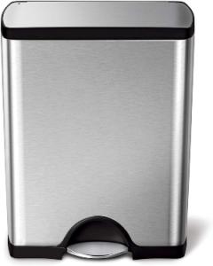 Simplehuman 50 Liter 13.2 Gallon Stainless Steel Rectangular Kitchen Step Trash Can, Brushed Stain
