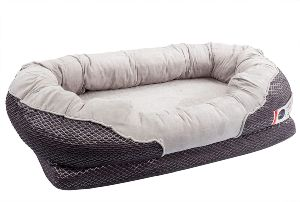 Barksbar Gray Orthopedic Dog Bed Snuggly Sleeper With Solid Orthopedic Foam, Extra Comfy Cotton