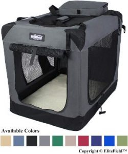 Elitefield 3 Door Folding Soft Dog Crate, Indoor & Outdoor Pet Home, Multiple Sizes And Colors Avai