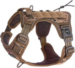 Fivewoody Tactical Dog Training Harness No Pulling Front Clip Leash Adhesion Reflective K9 Pet Worki