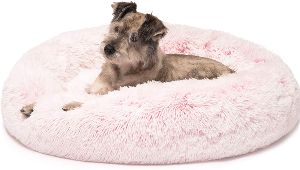 Friends Forever Donut Cat Bed, Faux Fur Dog Beds For Medium Small Dogs Self Warming Indoor Round P