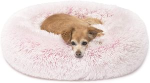 Friends Forever Donut Cat Bed, Faux Fur Dog Beds For Medium Small Dogs Self Warming Indoor Round